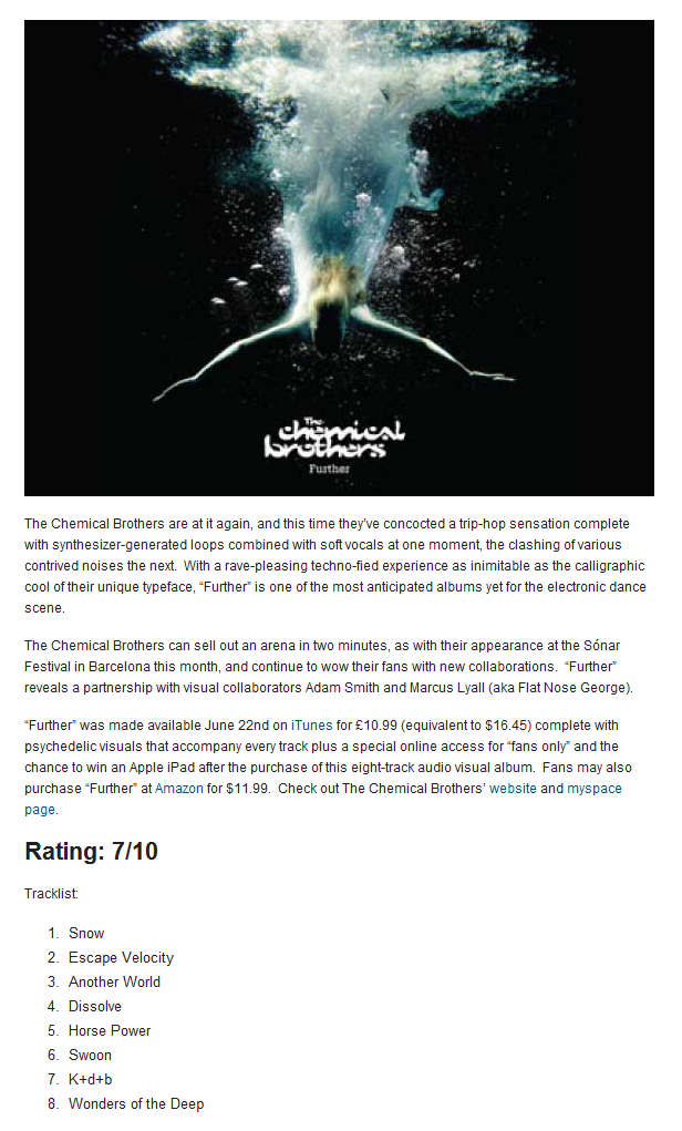 Album Review: The Chemical Brothers – Further