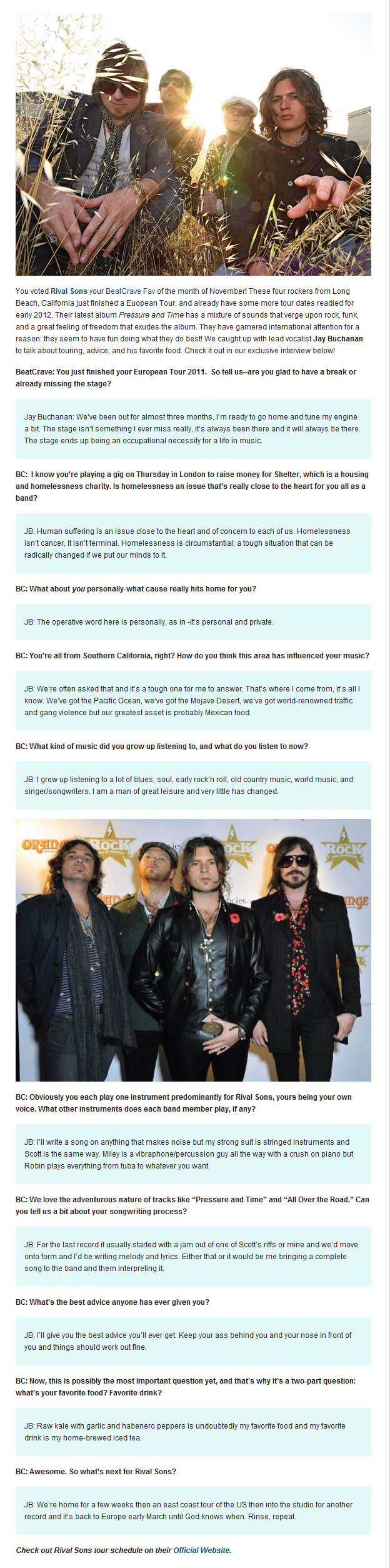 Interview with Rival Sons for BeatCrave