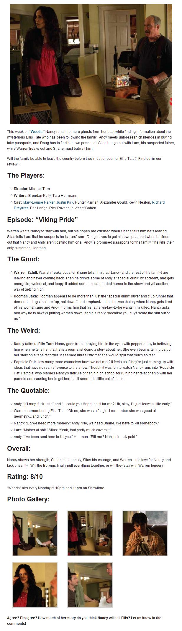TV Review: Weeds: Viking Pride (6.11)