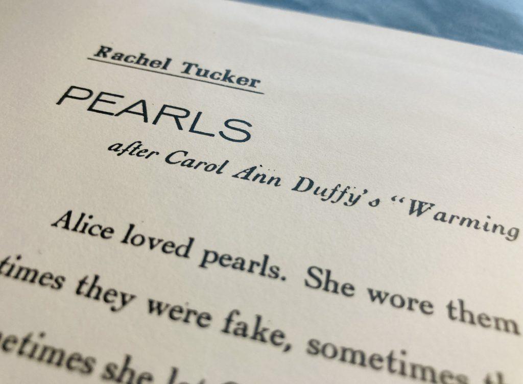 """Letterpress Broadside: Rachel Tucker's """"Pearls"""""""