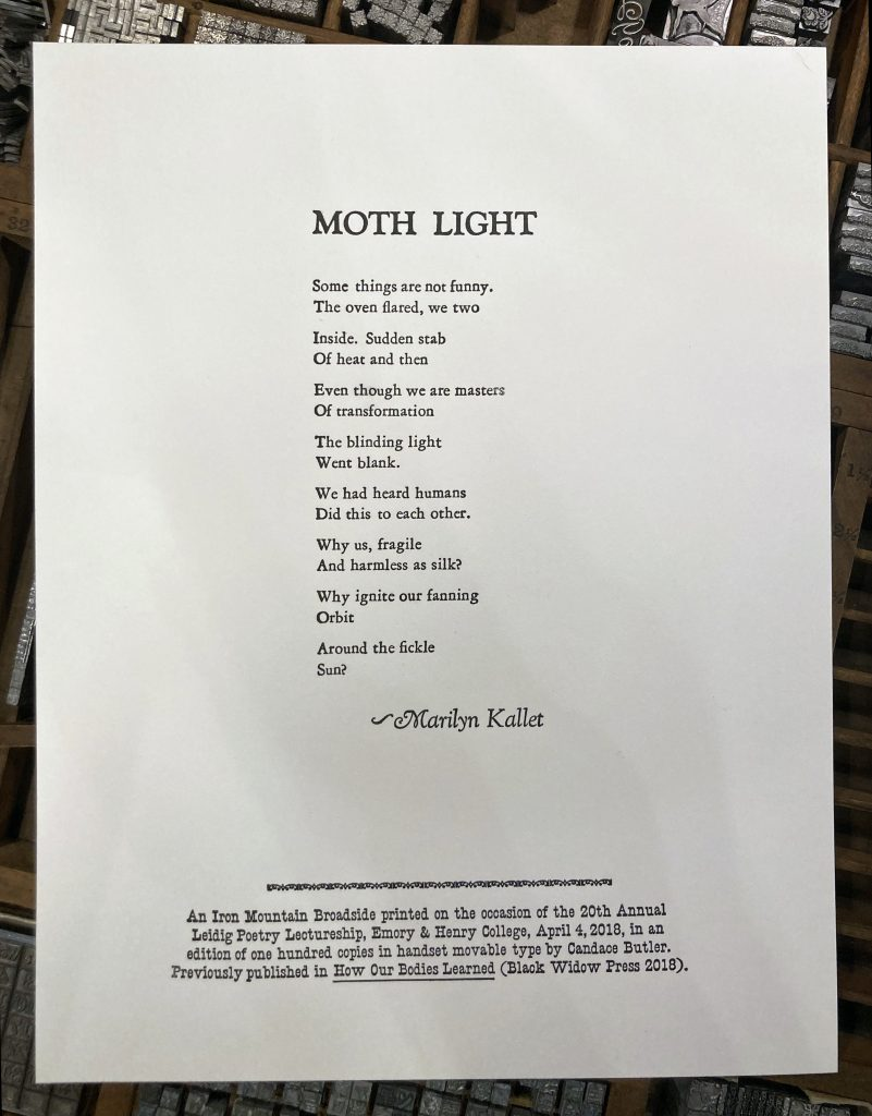 "Letterpress Broadside: Marilyn Kallet's ""Moth Light"""