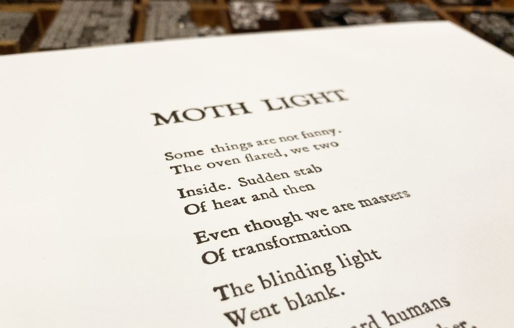 "Letterpress Broadside: Marilyn Kallet's ""Moth Light"""