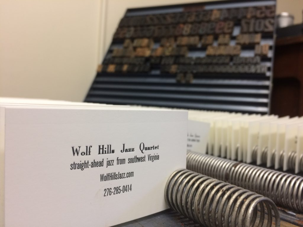 Letterpress Business Cards: Wolf Hills Jazz Quartet