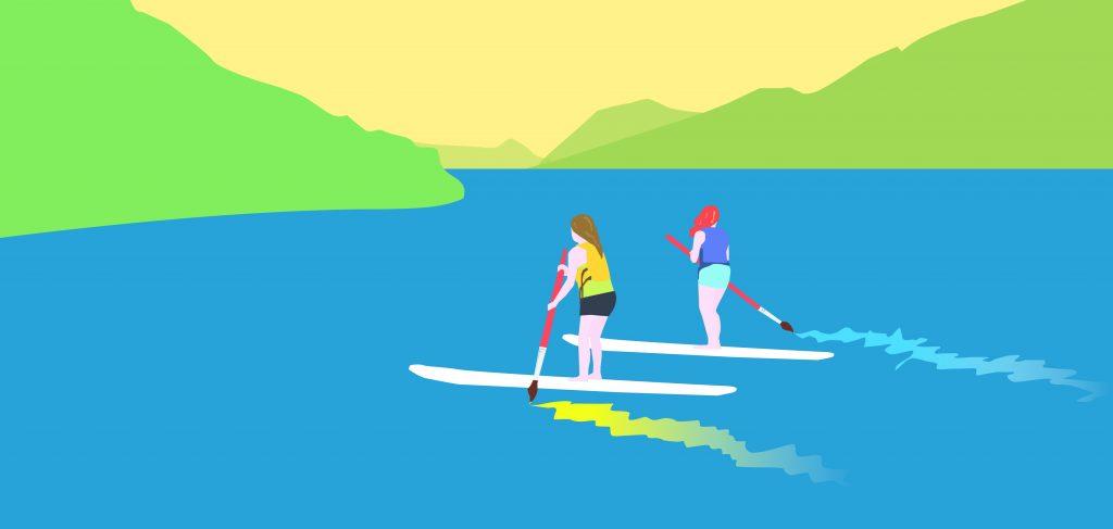 Illustration: Paddleboarding